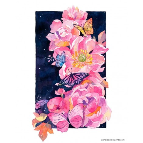 Penelope Love Prints Peony and Butterfly Diamond Painting Kit