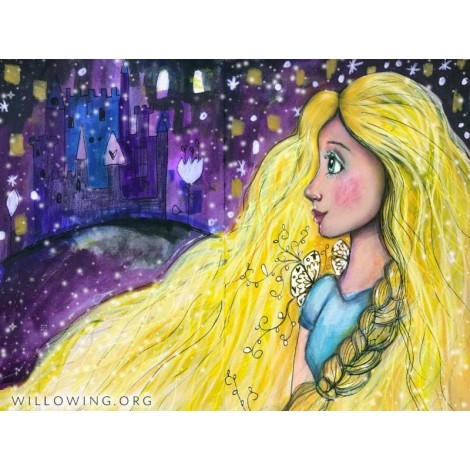 Willowing Arts Girl in the Tower Diamond Painting Kit